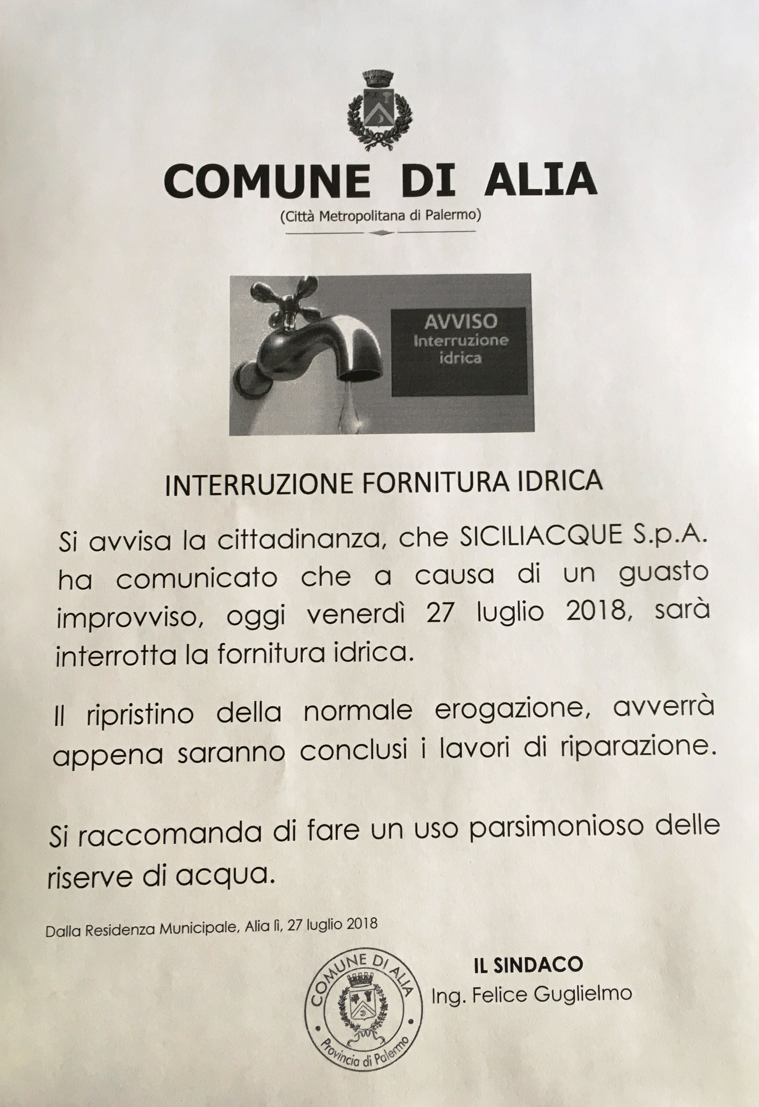 INTERRUZIONE FORNITURA IDRICA 27 LUGLIO 2018