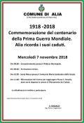 1918 - 2018 COMMEMORAZIONE DEL CENTENARIO DELLA PRIMA GUERRA MONDIALE. 7 NOVEMBRE 2018