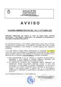 ELEZIONI AMMINISTRATIVE DEL 10 E 11 OTTOBRE 2021...