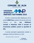 CHIUSURA SPORTELLO AMAP ALIA 4 SETTEMBRE 2018