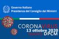 NUOVO DPCM MISURE URGENTI PER PREVENIRE LA DIFFUSIONE DEL CORONAVIRUS. 13 OTTOBRE 2020