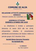 ASSEMBLEA CITTADINA 10 MARZO ORE 18:00 PRESENTAZIONE DELLA RELAZIONE SULL'ATTIVITÀ AMMINISTRATIVA  DEL SINDACO PERIODO GIUGNO 2017 DICEMBRE 2018