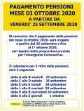 CALENDARIO PAGAMENTO PENSIONI MESE DI OTTOBRE 2020